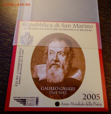 САН-МАРИНО - 2 евро ГАЛИЛЕЙ буклет до 22.09, 22.00 - Сан-Марино 2 евро Галилей буклет