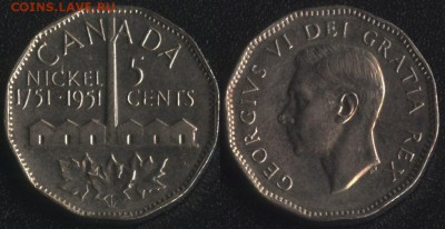 Канада 5 центов 1951 ЮБИЛЕЙ НИКЕЛЯ до 22:00мск 22.09.17 - Канада 5 центов 1951 ЮБИЛЕЙ НИКЕЛЯ
