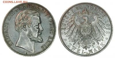 Коллекционные монеты форумчан , Кайзеррейх 1871-1918 (2,3,5) - 2 mark 1892 Reuss Altere line.JPG