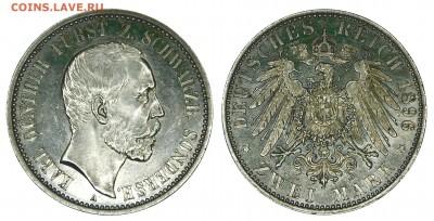 Коллекционные монеты форумчан , Кайзеррейх 1871-1918 (2,3,5) - 2 mark 1896 Schwarzburg-Sondershausen.JPG