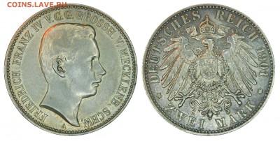 Коллекционные монеты форумчан , Кайзеррейх 1871-1918 (2,3,5) - 2 mark 1901 Mecklenburg-Schwerin.JPG