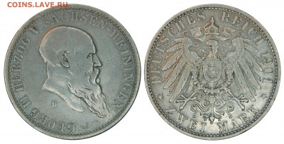 Коллекционные монеты форумчан , Кайзеррейх 1871-1918 (2,3,5) - 2 mark 1901 Sachsen-Meiningen.JPG