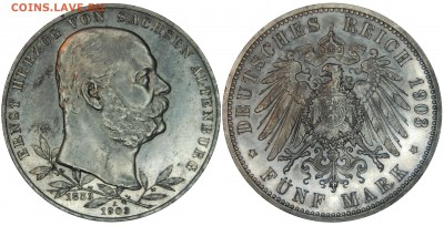 Коллекционные монеты форумчан , Кайзеррейх 1871-1918 (2,3,5) - 5 mark 1903 Sachsen-Altenburg.JPG