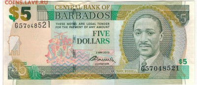 Барбадос 5 долларов 2012 до 25.09.2017 в 22.00мск (Д318) - 1-бар5д2002а