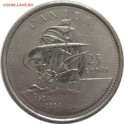 Разыскиваю монеты с кораблями и морской тематикой - 25_центов_400_лет_первым_поселениям_Европейцев_в_Канаде_2004_год_UNC__Канада_