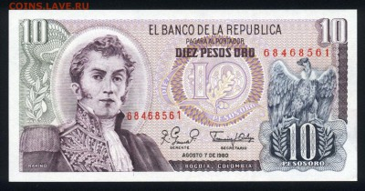Колумбия 10 песо 1980 unc 21.11.17  22:00 мск - 2