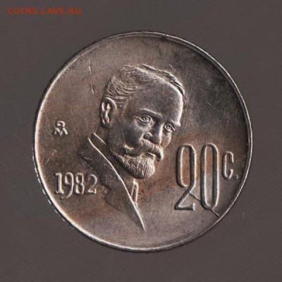 Мексика 20 сантимов 1982г - РАСКОЛ ШТЕМПЕЛЯ -, до 15.02.18 - 004в