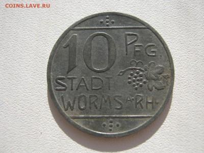 Германия Вормс нотгельд 10 пфеннигов цинк 1918 до 17.02. - IMG_3289