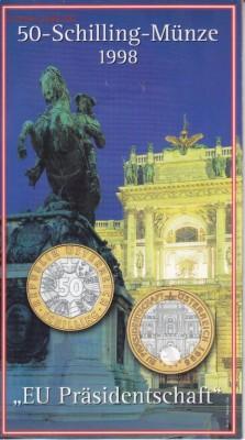 Биметалл Австрия 50 шиллингов 1998 Председательство Австрии - bimetall_avstrija_50_shillingov_1998_predsedatelstvo_avstrii_v_es_buklet