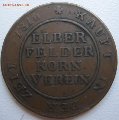Германия, 1 брод 1817 с 700 руб. до 11.03.18 20.00МСК - 1 брод (хлебная марка) 1817 года. Эльберфельд - Пруссия. (1) Реверс.JPG