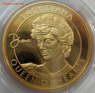 Цена - ПОДАРОК! Юбилейка 2 евро,юбилейка РФ 5 р.,медали. - Памятная медаль Lady Diana,позалочена 999 Gold, PP, 5000 штук, 35 mm) - 300 р