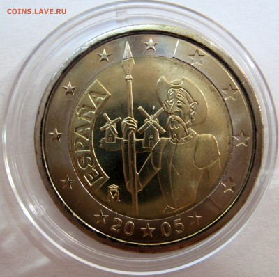 Цена - ПОДАРОК! Юбилейка 2 евро,юбилейка РФ 5 р.,медали. - Испания 2005,280 р.JPG