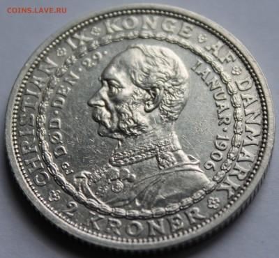 Дания. 2 кроны 1906. Серебро, проба - 800, вес - 15 - 1