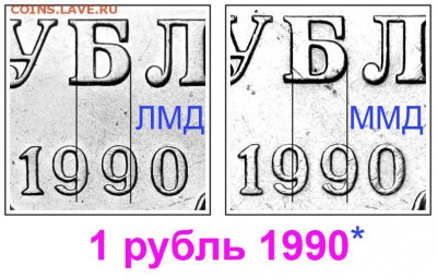 Монетные дворы СССР - 1 рубль 1990 - варианты реверса