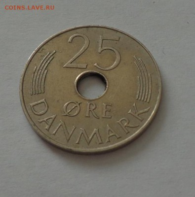 ДАНИЯ - 25 эре с отверстием до 27.04, 22.00 - Дания - 25 эре с отверстием