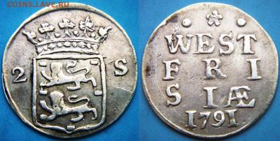 Нидерланды 2 стювера 1791г. до 28.06.18 22:00мск - Нидерланды Западная Фризия 2 стювера-3