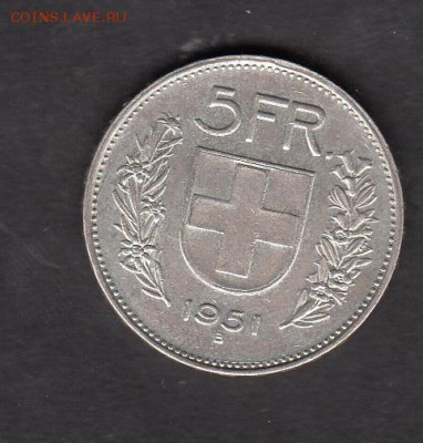 Швейцария 1951 5 франков - 98а