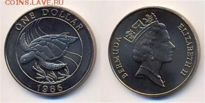 Крона Шайба Бермуды 1$ доллар 1986 Черепаха фауна - krona_shajba_bermudy_1_dollar_1986_cherepakha_fauna