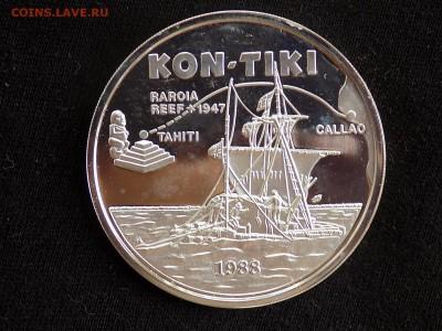 Самоа и Сисифо. 10 долларов 1988 год. Плот Кон-Тики - Либерия конТики (1).JPG