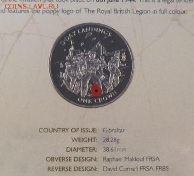 Крона Шайба Гибралтар 1 крона 2004 высадка в Нормандии - krona_shajba_gibraltar_1_krona_2004_vysadka_v_normandii_morskie_pekhotincy_vtoraja_mirovaja_vojna_buklet