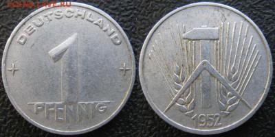 28.Ходячка ГДР 1 пфенниг 1948-1989г - 28.6. -ГДР 1 пфенниг 1952 А    7333