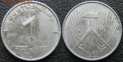 28.Ходячка ГДР 1 пфенниг 1948-1989г - 28.8. -ГДР 1 пфенниг 1952 А    7625