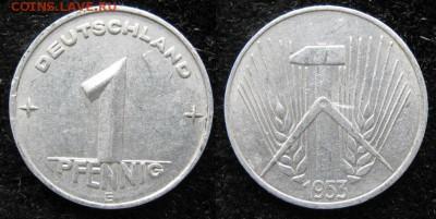 28.Ходячка ГДР 1 пфенниг 1948-1989г - 28.11. -ГДР 1 пфенниг 1953 Е    1229