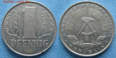 28.Ходячка ГДР 1 пфенниг 1948-1989г - 28.13. -ГДР 1 пфенниг 1961 А    7323