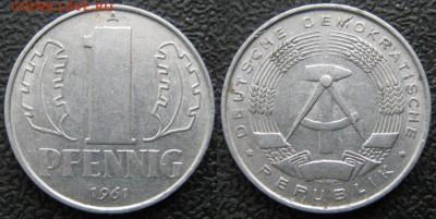 28.Ходячка ГДР 1 пфенниг 1948-1989г - 28.14. -ГДР 1 пфенниг 1961 А    7553
