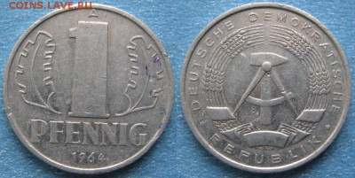 28.Ходячка ГДР 1 пфенниг 1948-1989г - 28.18. -ГДР 1 пфенниг 1964 А    8256