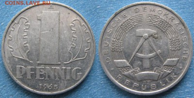 28.Ходячка ГДР 1 пфенниг 1948-1989г - 28.19. -ГДР 1 пфенниг 1965 А    8237
