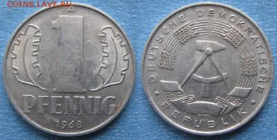 28.Ходячка ГДР 1 пфенниг 1948-1989г - 28.21. -ГДР 1 пфенниг 1968 А    170-к23-8202