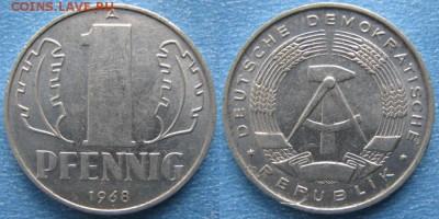 28.Ходячка ГДР 1 пфенниг 1948-1989г - 28.22. -ГДР 1 пфенниг 1968 А    7310