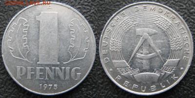 28.Ходячка ГДР 1 пфенниг 1948-1989г - 28.24. -ГДР 1 пфенниг 1975 А    7554