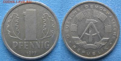 28.Ходячка ГДР 1 пфенниг 1948-1989г - 28.25. -ГДР 1 пфенниг 1977 А    7311