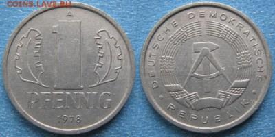 28.Ходячка ГДР 1 пфенниг 1948-1989г - 28.26. -ГДР 1 пфенниг 1978 А    8251