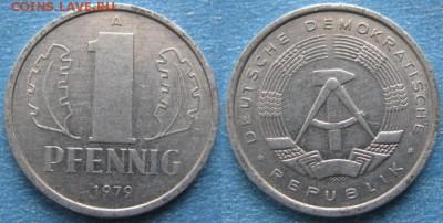 28.Ходячка ГДР 1 пфенниг 1948-1989г - 28.27. -ГДР 1 пфенниг 1979 А    8032