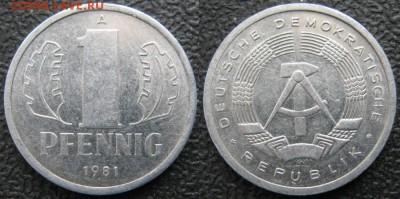 28.Ходячка ГДР 1 пфенниг 1948-1989г - 28.29. -ГДР 1 пфенниг 1981 А    7555