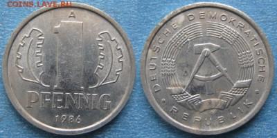 28.Ходячка ГДР 1 пфенниг 1948-1989г - 28.34. -ГДР 1 пфенниг 1986 А    8255
