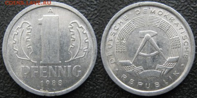 28.Ходячка ГДР 1 пфенниг 1948-1989г - 28.36. -ГДР 1 пфенниг 1988 А    7412
