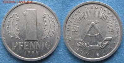 28.Ходячка ГДР 1 пфенниг 1948-1989г - 28.37. -ГДР 1 пфенниг 1989 А     8240