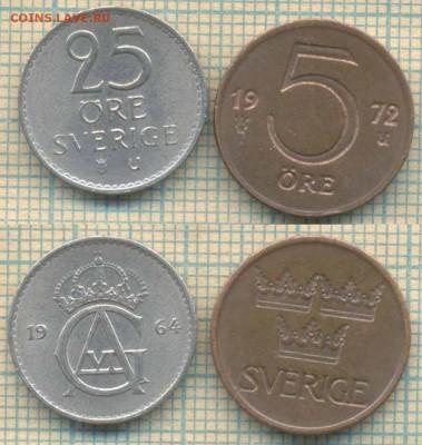 Швеция 5 эре 1972, 25 эре 1964 г., до 08.08.2018 г. 22.00 по - Швеция 2 монеты  2393