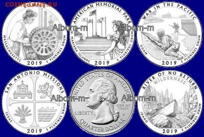 монеты сша 25 центов серии парки 2019 - image
