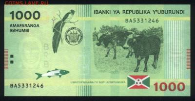 Бурунди 1000 франков 2015 unc  31.08.18. 22:00 мск - 2