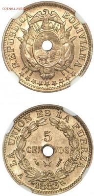 Монеты с отверстием в центре - Боливия 5 сентаво 1883г
