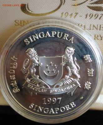 Авиация космонавтика на монетах - Сингапур 5 дол серебро 1997 аверс