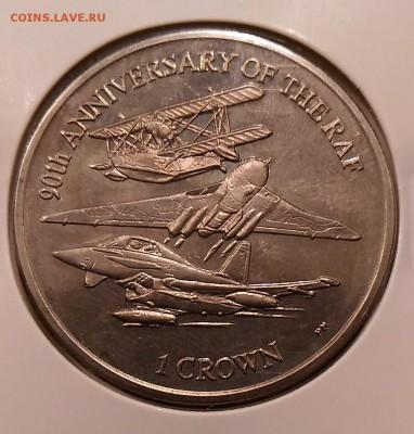 Авиация космонавтика на монетах - Фолкленды 1 крона 2008  о-ва 90 лет ВВС реверс