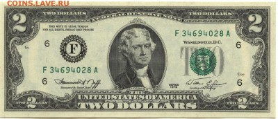 2 доллара 1976 г., -F-, США, пресс, до 22:00 15.10.18 г. - 2 доллара 1976 F-1