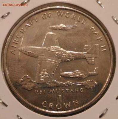 Авиация космонавтика на монетах - о Мэн 1 крона 1995 самолеты II мировой войны мустанг Р51 реверс