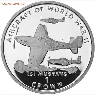 Авиация космонавтика на монетах - 1-Crown-P-51-Mustang